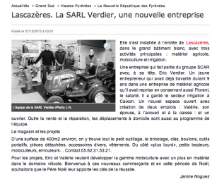 Ladepeche article presse Verdier